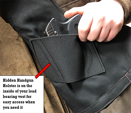 Hidden gun holster on inside lbv image