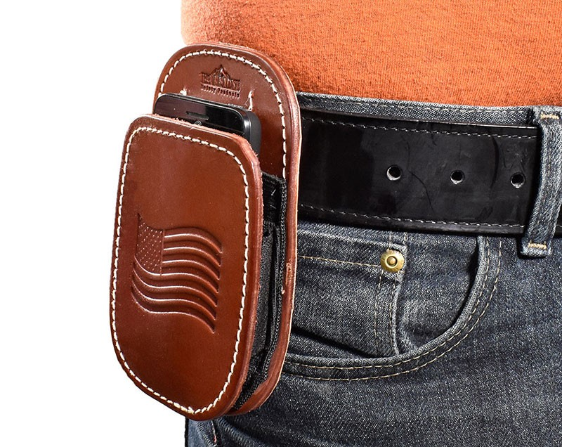super popular 646ae 94961 All American Leather Cell Phone Holster - Fits iPhone 5, 6, 7, 8, Samsung  Galaxy S6, S7, S8