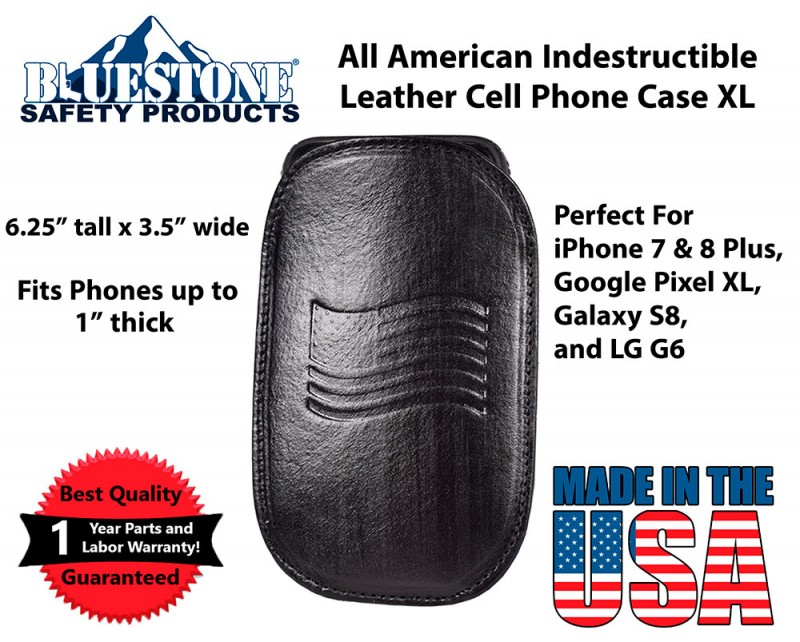 uk availability 0d1d4 cb3a8 Leather Cell Phone Holster XL - Fits iPhone 6, 7, 8, 8 Plus, Samsung Galaxy  S7, S8, S8 Plus