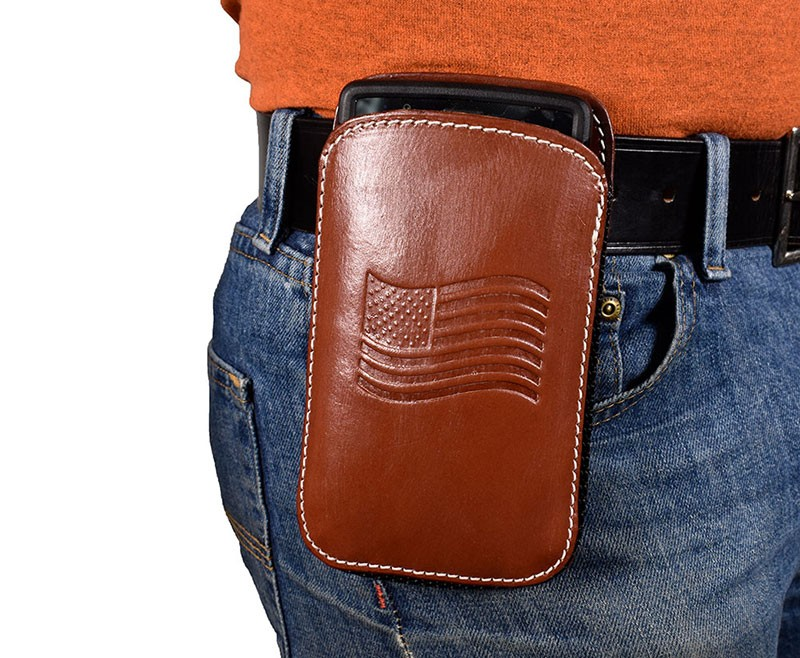uk availability a888b ad030 Leather Cell Phone Holster XL - Fits iPhone 6, 7, 8, 8 Plus, Samsung Galaxy  S7, S8, S8 Plus